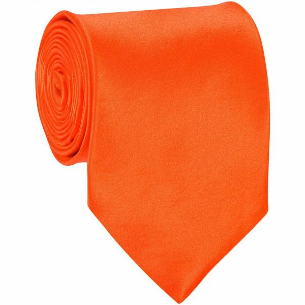 Orange Mens Solid Tie Regular