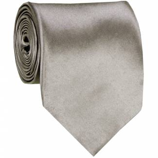 Silver Mens Solid Tie Regular