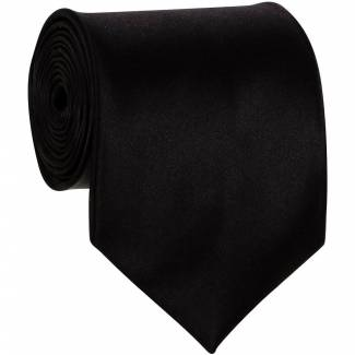 Black Mens Solid Tie Regular