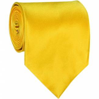 Yellow Mens Solid Tie Regular