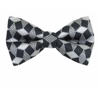 Gray Silver Pre Tied Bow Tie