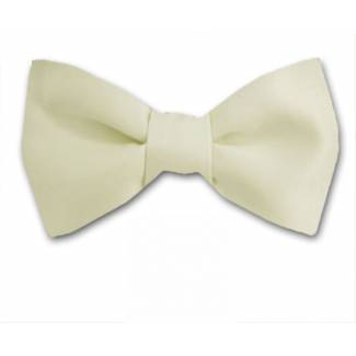 Cream Solid Bow Tie