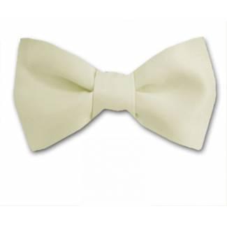 Cream Solid Bow Tie