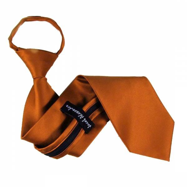 Peach Solid Zipper Tie Regular Length Zipper Tie