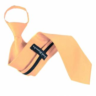 Peach Solid Zipper Tie Regular Length Zipper Tie