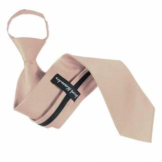 Solid Mens Zipper Tie Tan Regular Length Zipper Tie