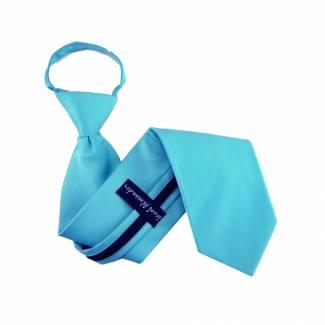 Solid Mens Zipper Tie Turquoise Regular Length Zipper Tie
