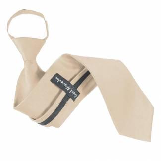 Solid Mens Zipper Tie Champagne Regular Length Zipper Tie
