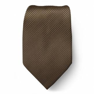 Brown Solid Tie Microfiber Regular