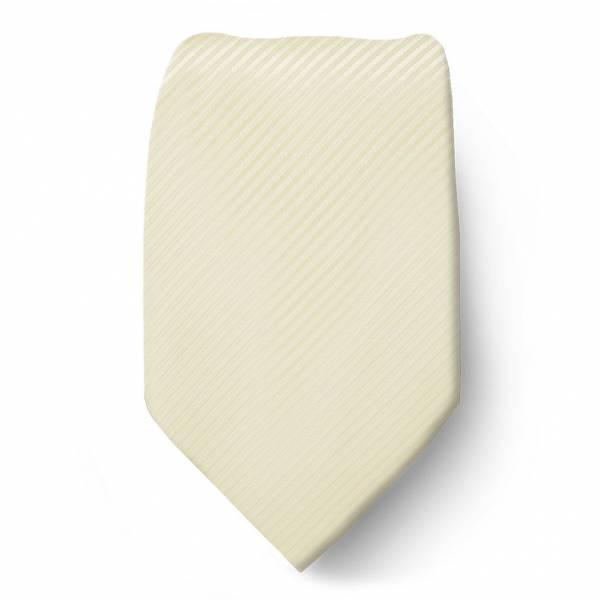 Cream Solid Tie Microfiber Regular
