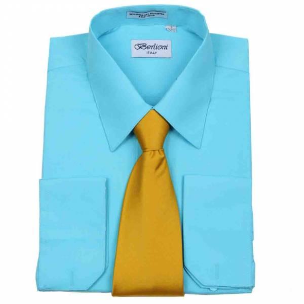 Mens Shirt Aqua Mens Shirt & Tie