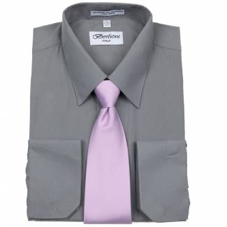 Mens Shirt Charcoal Mens Shirt & Tie