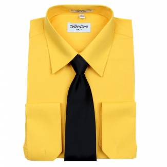 Mens Shirt Gold Mens Shirt & Tie