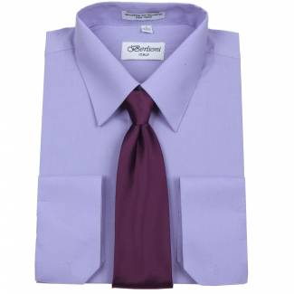 Mens Shirt Lavender Mens Shirt & Tie