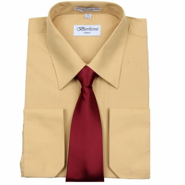 Mens Shirt Mustard Mens Shirt & Tie