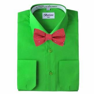 Mens Shirt Green Mens Shirt & Bow Tie