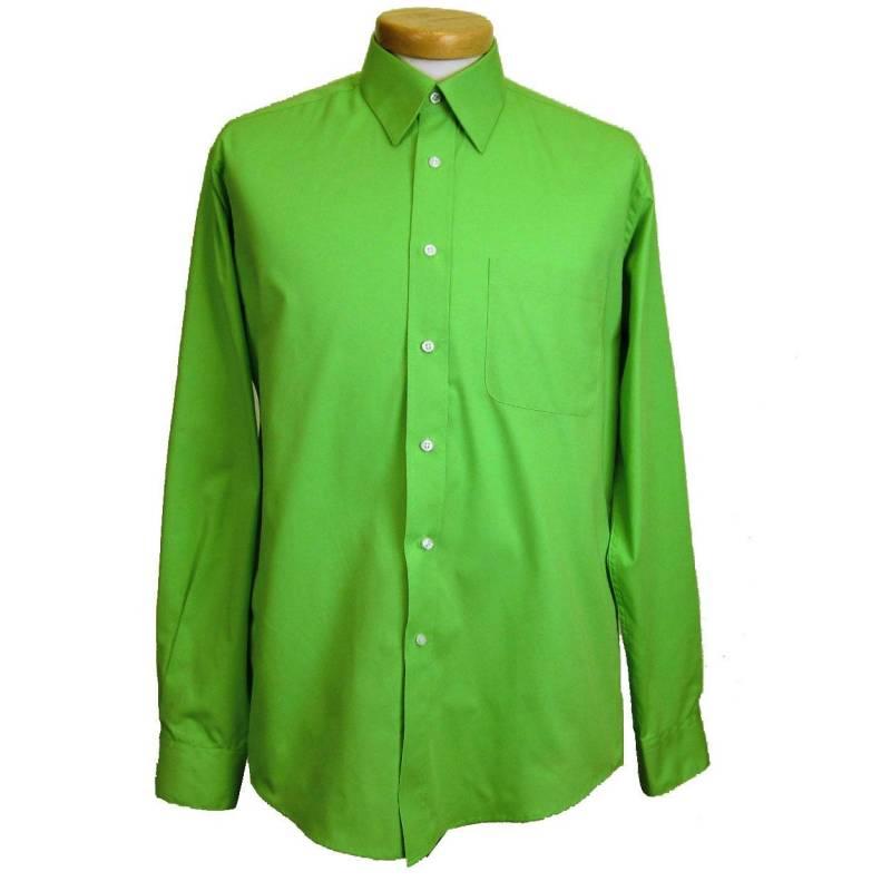 Mens shirt green for Apple green dress shirt