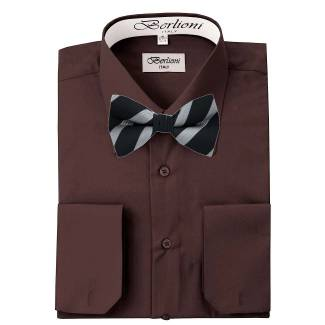 Mens Shirt Brown Mens Shirt & Bow Tie