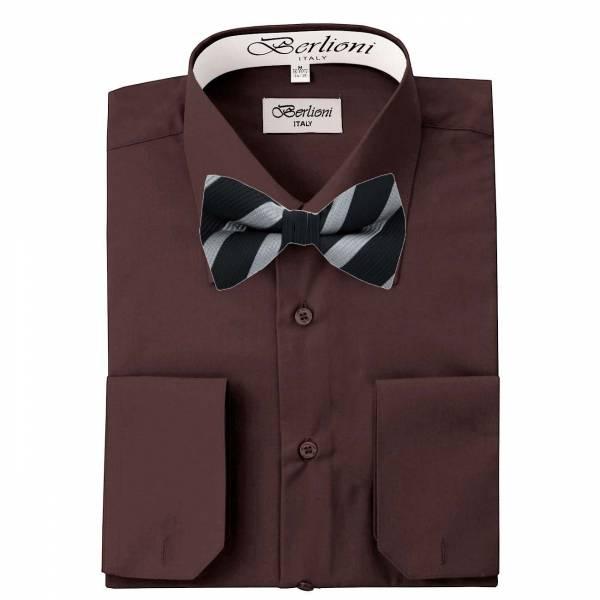 Mens Shirt Brown Mens Shirt & Bow Tie