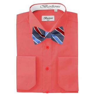 Mens Shirt Orange Mens Shirt & Bow Tie