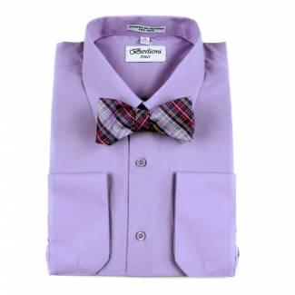 Mens Shirt Purple Mens Shirt & Bow Tie
