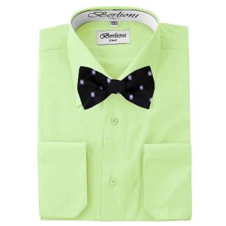 Mens Shirt Green Mens Shirt & Bow Tie