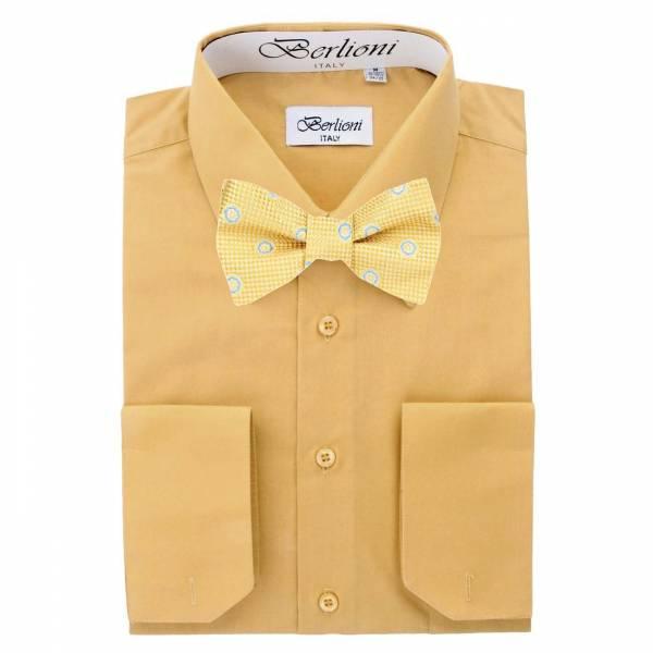 Mens Shirt Mustard Mens Shirt & Bow Tie