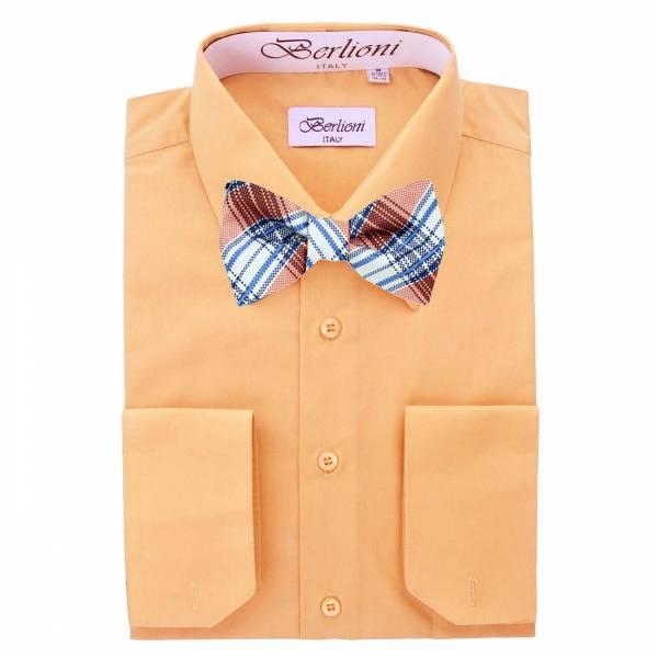 Mens Shirt Orange Mens Shirt & Bow Tie