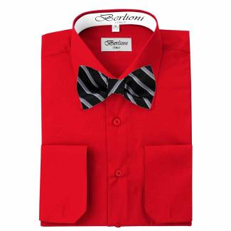 Mens Shirt Red Mens Shirt & Bow Tie