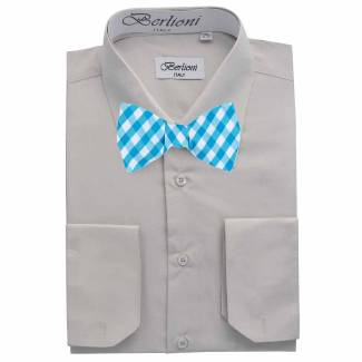 Mens Shirt Gray Mens Shirt & Bow Tie