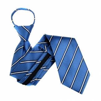 Blue Stripe Zipper Tie Regular Length Zipper Tie
