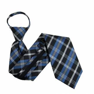 Blue Plaid Zipper Tie Regular Length Zipper Tie