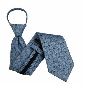Blue Pattern Zipper Tie Regular Length Zipper Tie