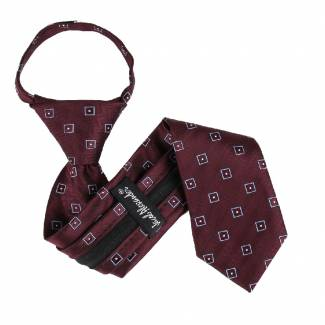 Burgundy Boys 14 inch Zipper Tie Zipper Tie 14 inch