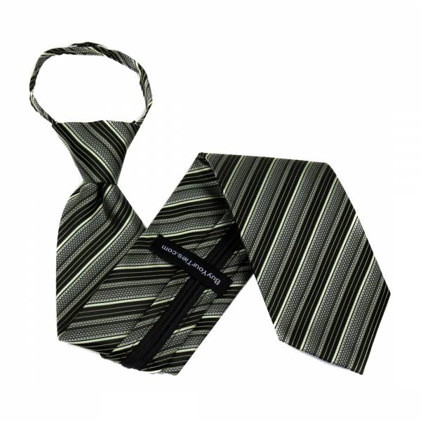 Black Zipper Tie Regular Length Zipper Tie