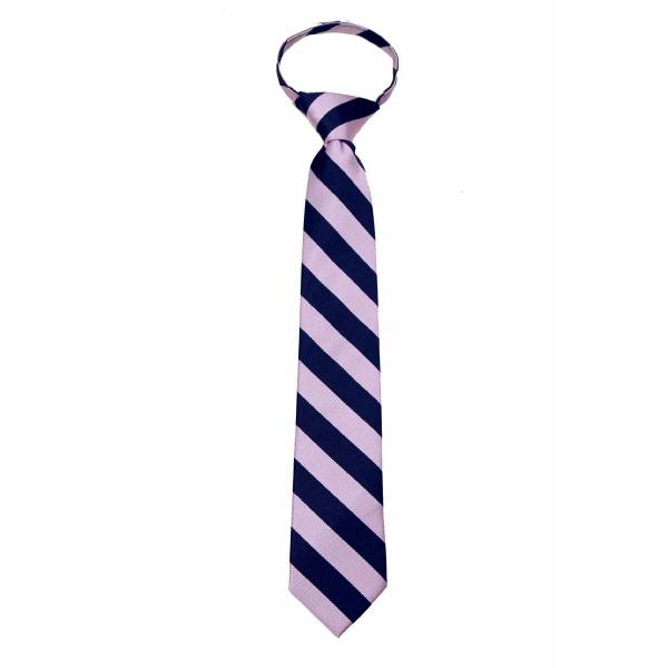 Mens College Stripe Zipper Tie Regular Length Zipper Tie
