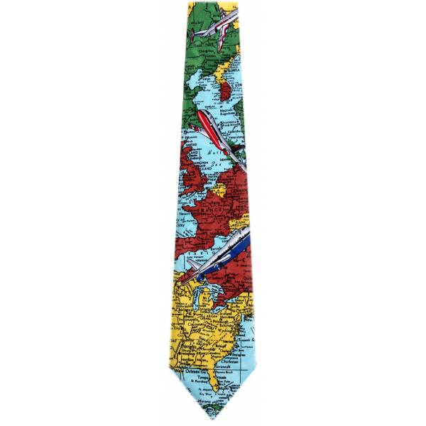 Airplane and Maps Tie Transportation Ties
